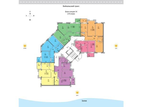 Блок-секция 14. Планировка 2-9 этажей