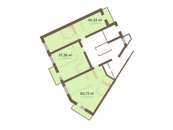 Планировки Жилой комплекс Академгородок, дом 1, корп 1 - Корпус 1. Подъезд 3. Планировка типового этажа