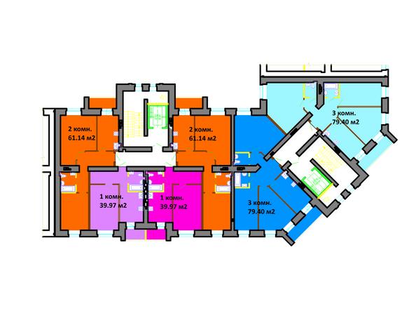 Планировки Жилой комплекс СЕРЕБРЯНЫЙ БЕРЕГ, дом 11 - Подъезд 8-7. Планировка типового этажа