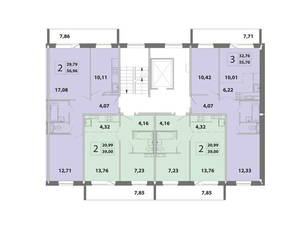 Планировки Жилой комплекс ЗЕЛЁНЫЕ ГОРКИ, КПД-2 - Блок-секция 3. Планировка типового этажа