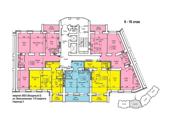 Планировки Жилой комплекс ЛАЗУРНЫЙ-2, дом 1 - Планировка 8-16 этажей, 3 б/с