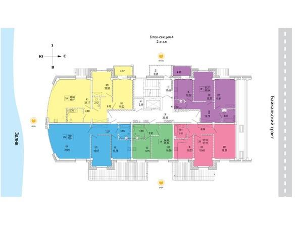 Блок-секция 4. Планировка 2 этажа