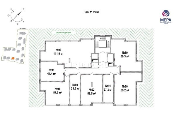 Планировка 11-12 этажей