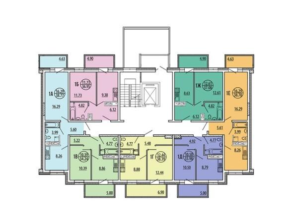 Планировки Жилой комплекс ЭВОЛЮЦИЯ, 2 оч, б/с 4-1,2,3,4,5 - Блок-секция 4-4. Планировка типового этажа