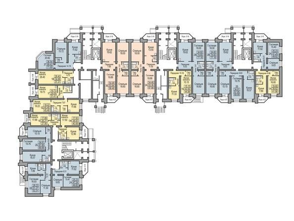 Планировки Жилой комплекс КОСМИЧЕСКИЙ, дом 8 - Планировка 1 этажа