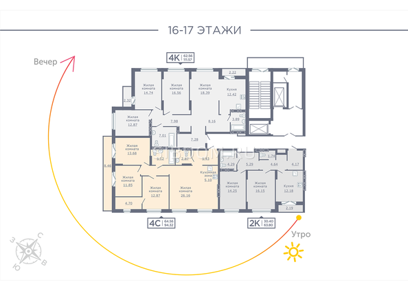Планировки Жилой комплекс ДОМ НА САДОВОЙ - Планировка 16-17 этажей