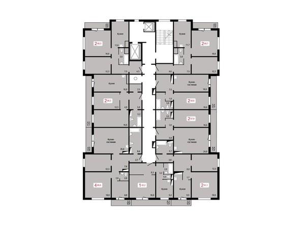 Планировки Жилой комплекс КУРЧАТОВА, дом 8, стр 1 - Планировка 17 этажа