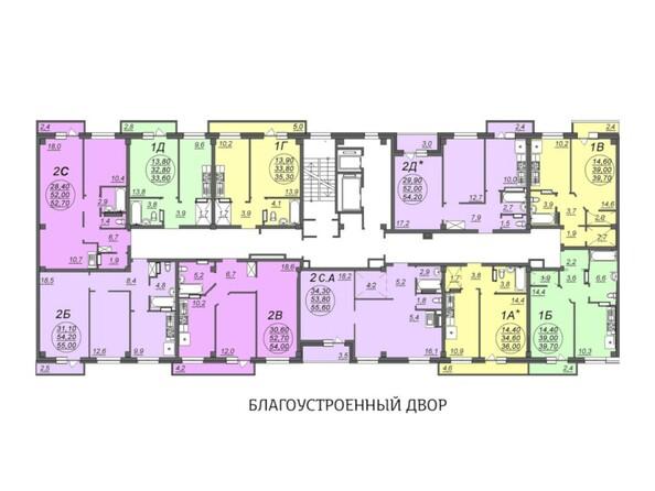 Планировки Жилой комплекс АЭРОПОРТ, дом 1 - Блок-секция 3. Этажи 2-4
