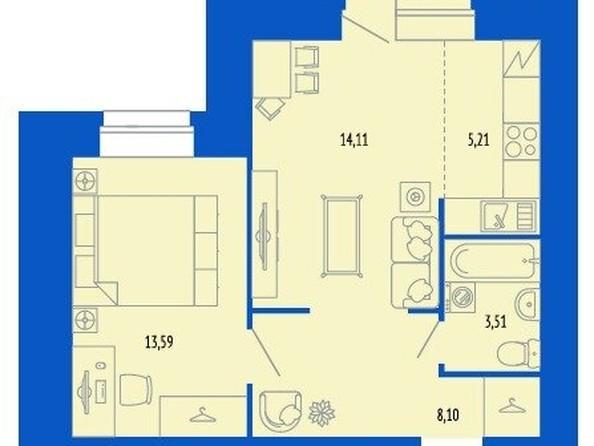 Продам 2-комнатную, 45 м², 280-летия Барнаула ул, 16. Фото 5.