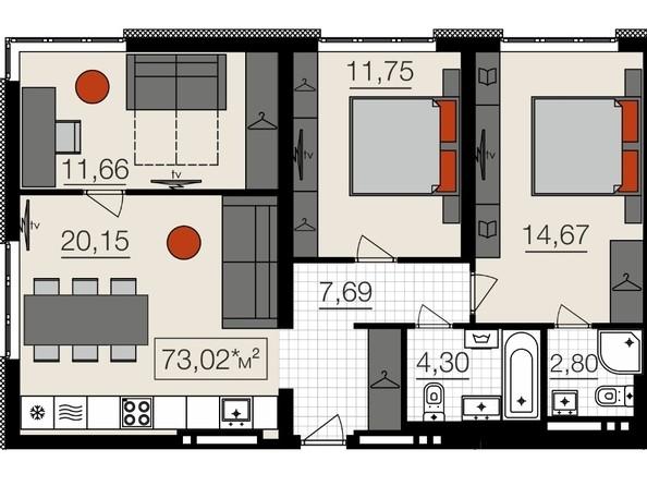 Продам 4-комнатную, 73 м2, Челюскинцев ул, 80в. Фото 2.