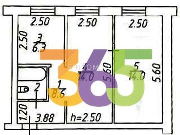 Продам 2-комнатную, 46 м2, Сибиряков-Гвардейцев ул, 308. Фото 9.