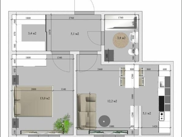 Продам 2-комнатную, 44 м2, Терешковой ул, 16г. Фото 2.