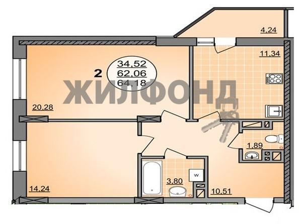 Продам 2-комнатную, 64.18 м2, ГУРЬЕВСКАЯ, дом 1, к2. Фото 18.